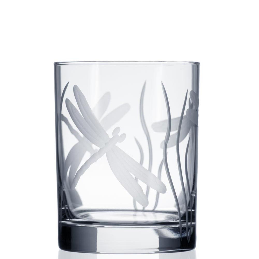 Rolf Glass Etched Dragonfly Double Old Fashioned Glasses 14 oz.