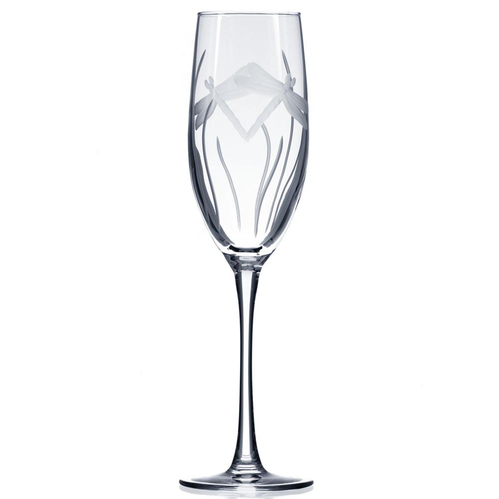 Rolf Glass Dragonfly Champagne Flutes 8 oz. (Set of 4)