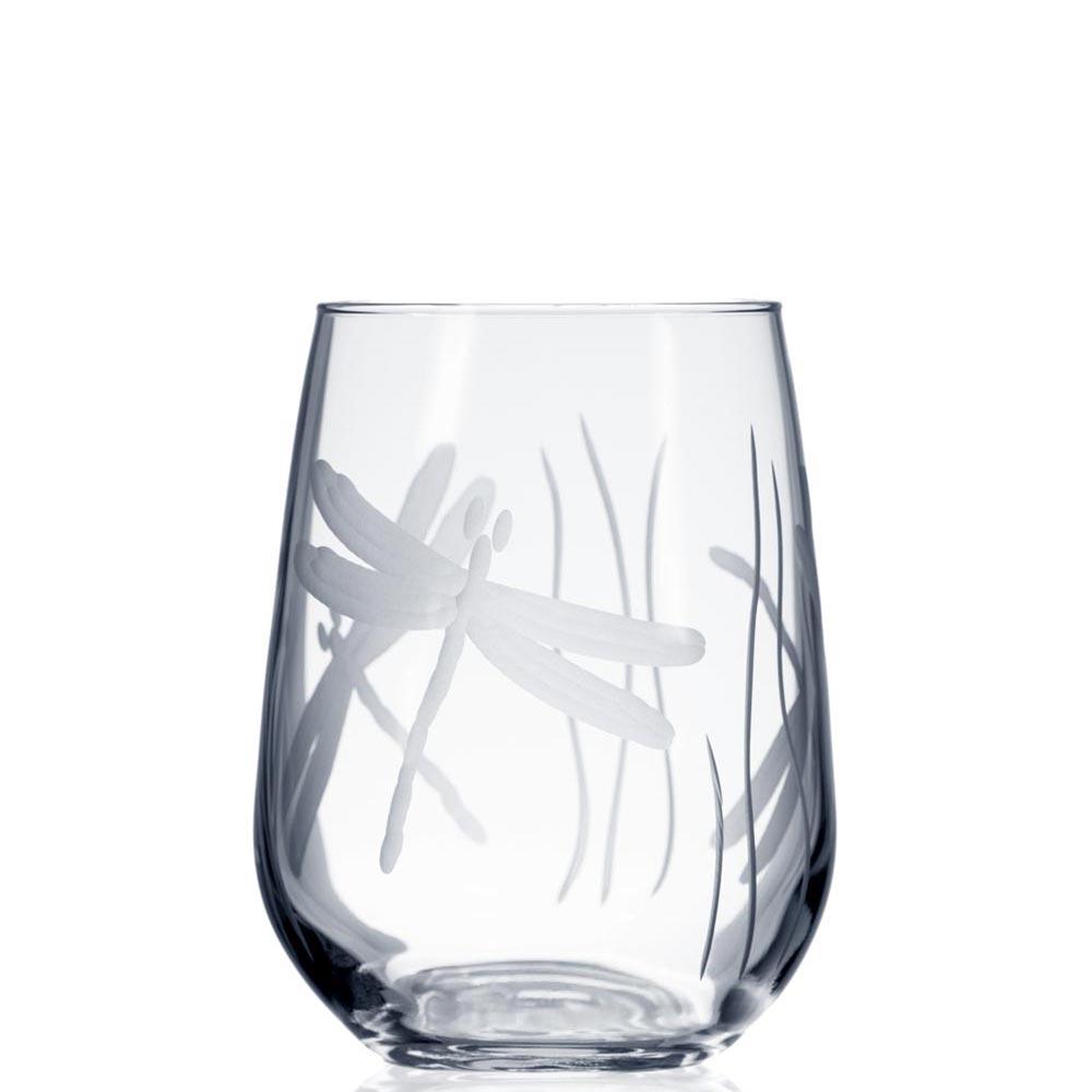 Rolf Glass Dragonfly Stemless Wine Glass Tumbler 17 oz.