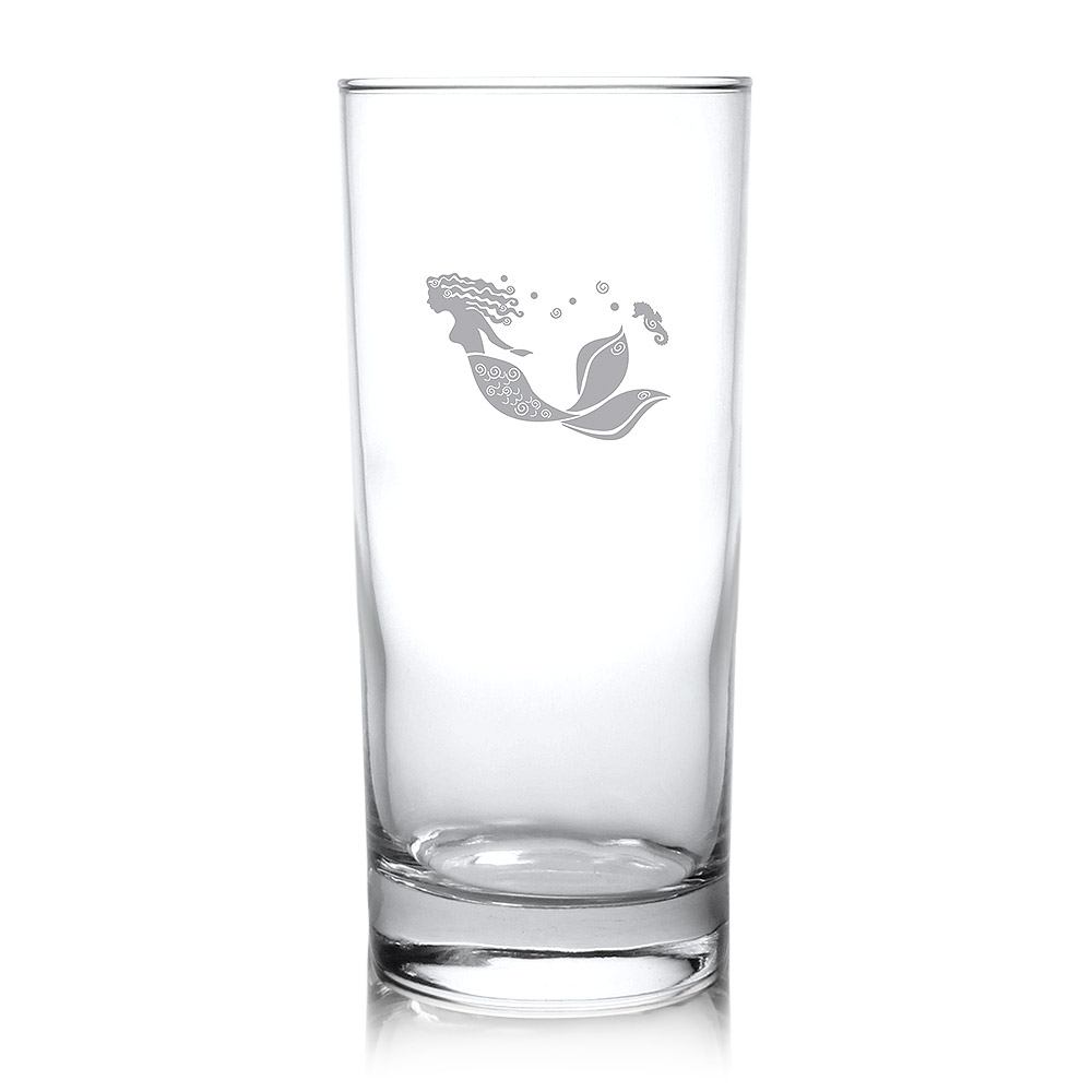 Rolf Glass Mermaid Highball Drink Glasses 15 oz. (Set of 4)
