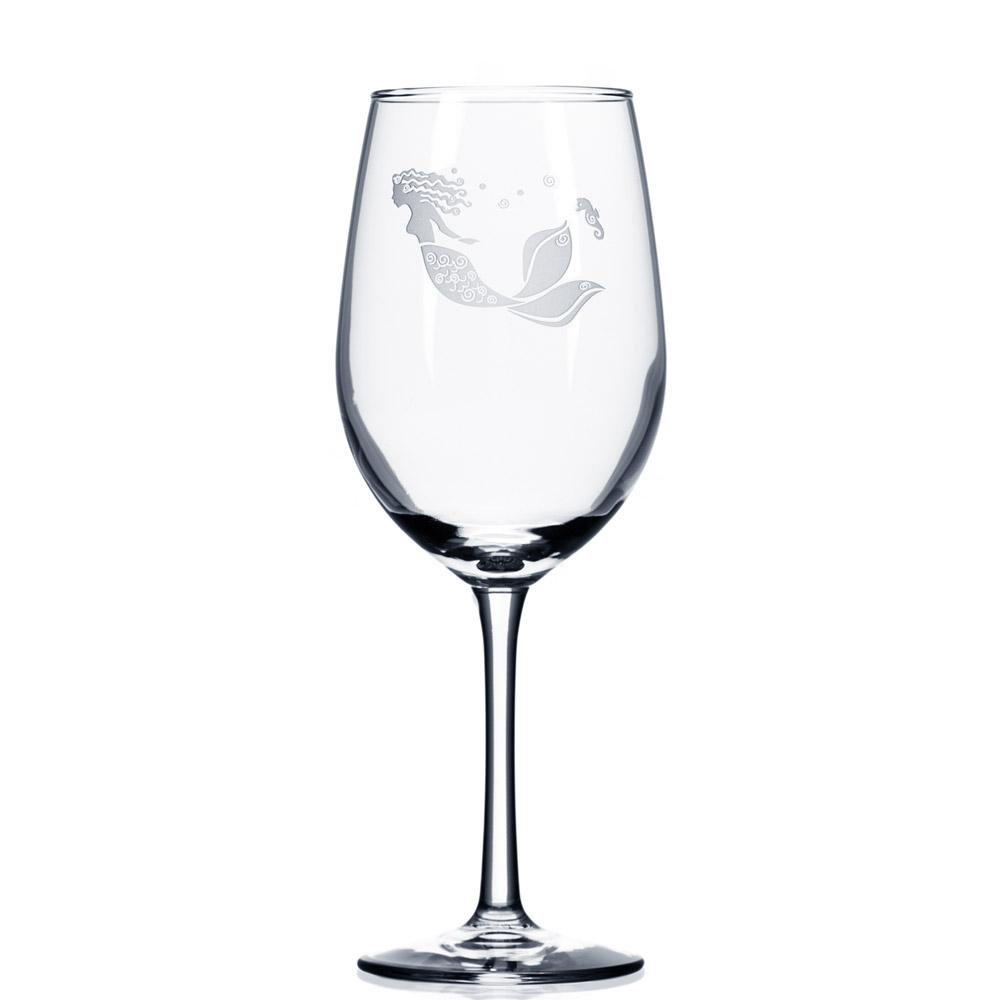 Mermaid White Wine Glasses 12 oz. (Set of 4)