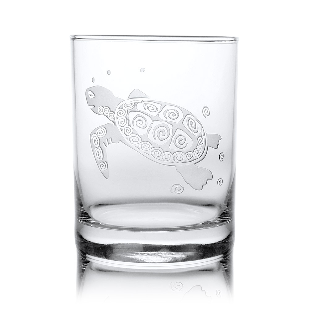 Rolf Glass Sea Turtle Double Old Fashion Whiskey Glasses 14 oz. (Set of 4)
