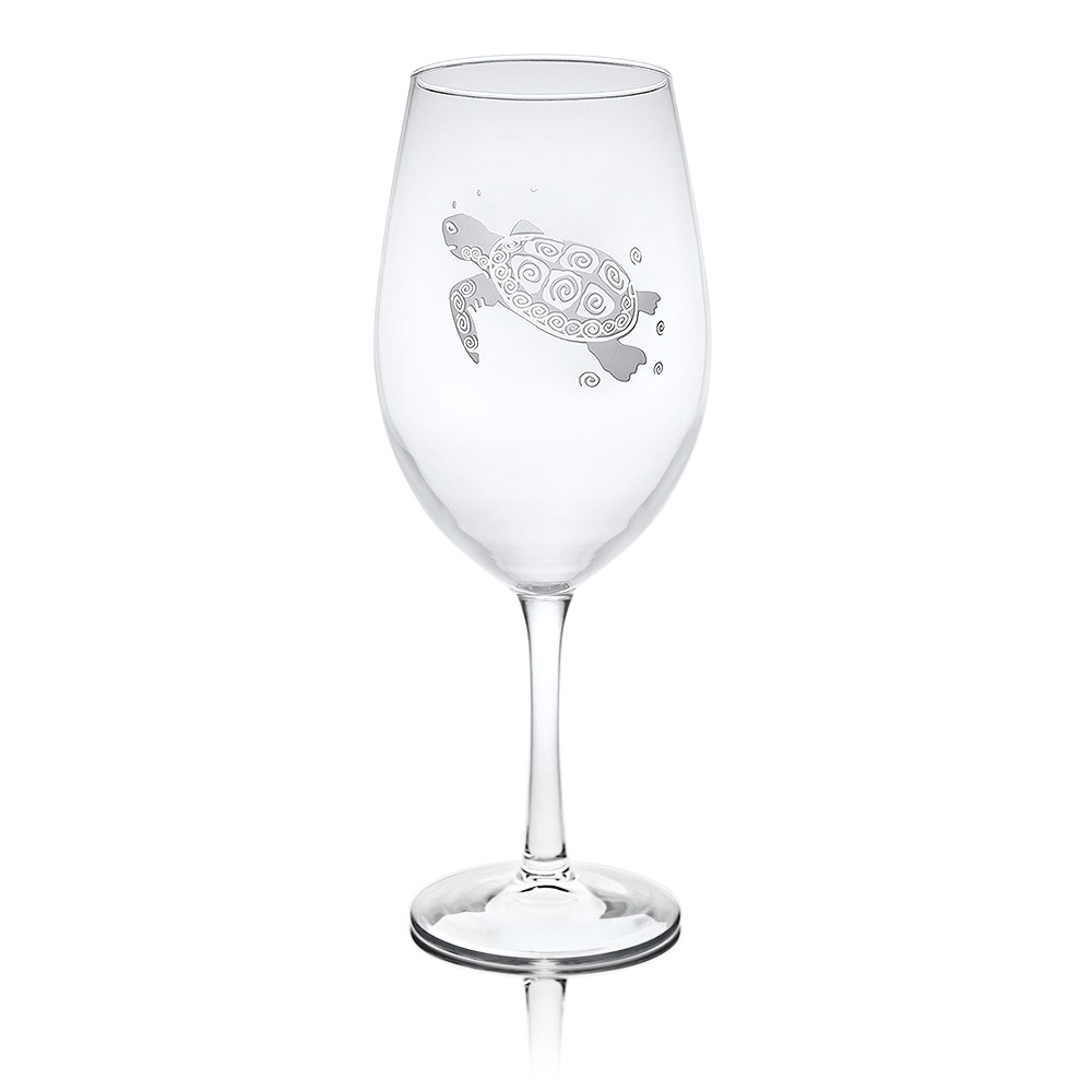 Rolf Glass Sea Turtle Wine Glasses, All Purpose 18 oz.(Set of 4)