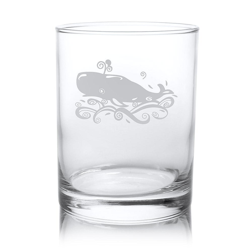 Rolf Glass Whale Double Old Fashion Whiskey Glasses 14 oz. (Set of 4)