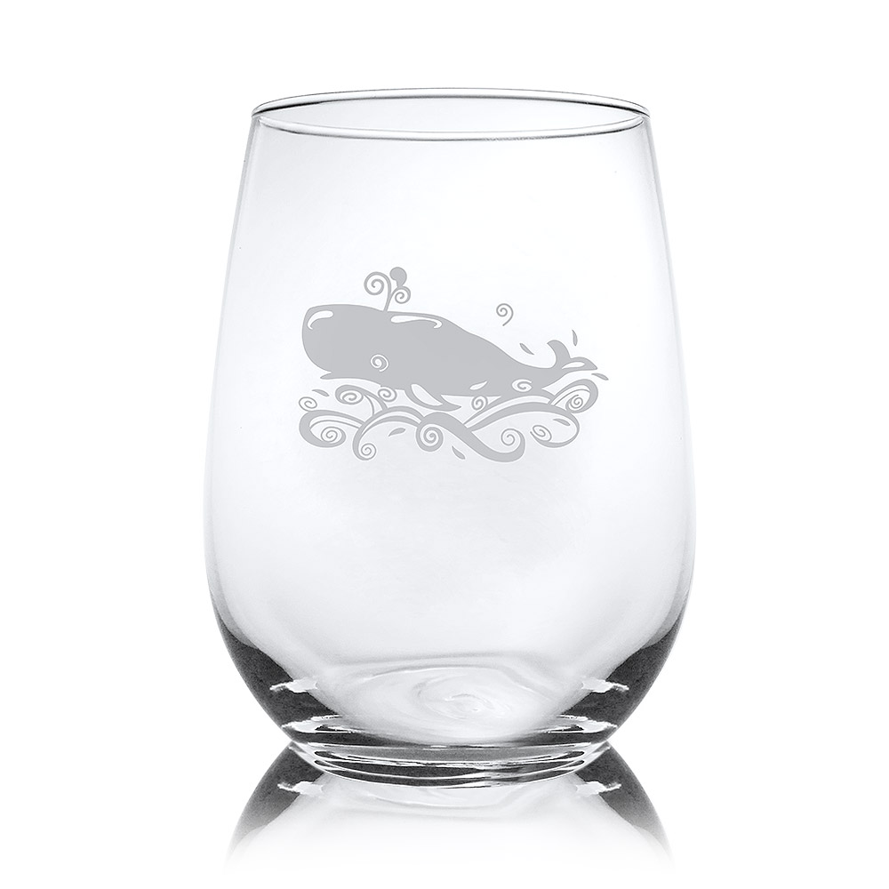 Rolf Glass Whale Stemless Wine Glass Tumblers 17 oz. (Set of 4)