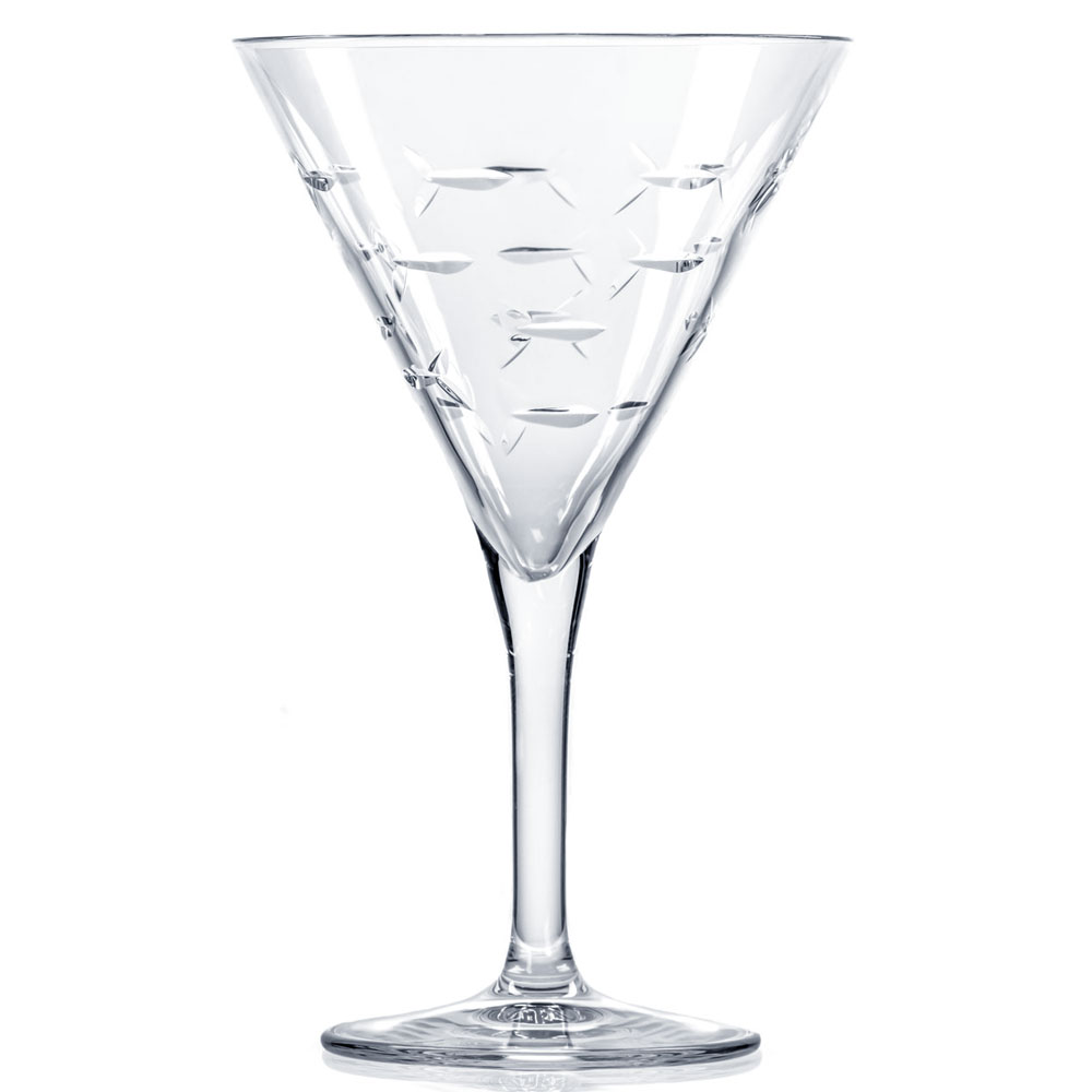 Rolf Glass School of Fish Martini Glasses 8 oz. (Set of 4)