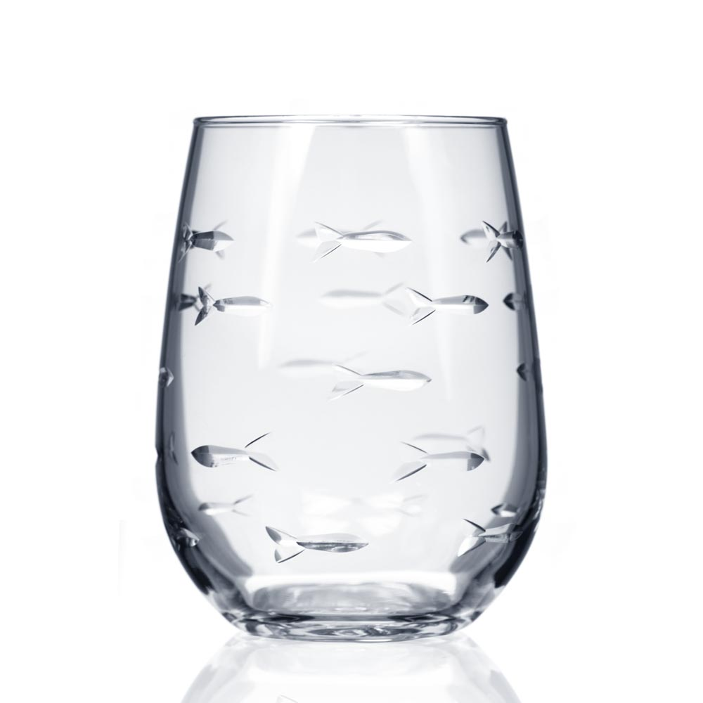 Rolf Glass School of Fish Stemless Wine Glass Tumblers 17 oz. (Set of 4)