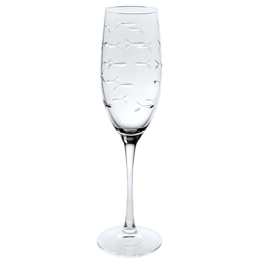 Rolf Glass School of Fish Champagne Flutes 8 oz. (Set of 4)