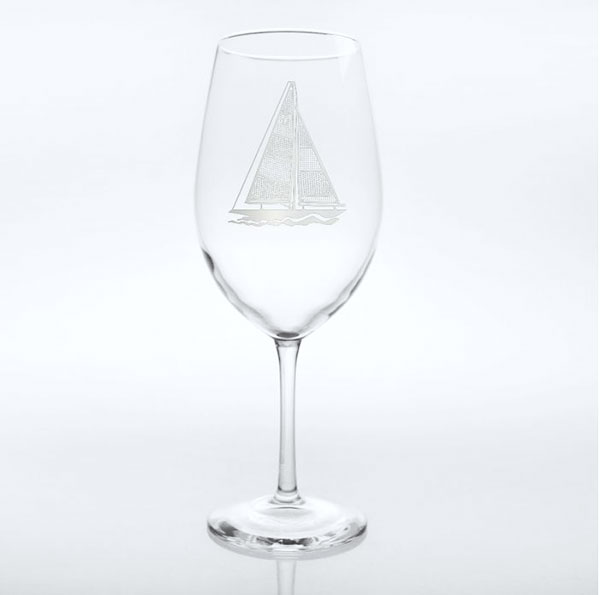 Rolf Glass Sailboat Etched Red Wine Glasses 18 oz. (Set of 4)