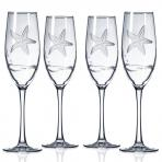 Starfish Etched Champagne Flutes By Rolf Glass 8 oz. Set of 4