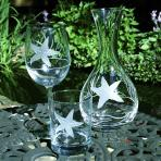 Rolf Glass Etched Starfish Wine Glass, Double Old Fashion and Decanter together in a real life image.