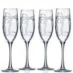 Rolf Glass Palm Tree Champagne Flutes 8 oz. (Set of 4)