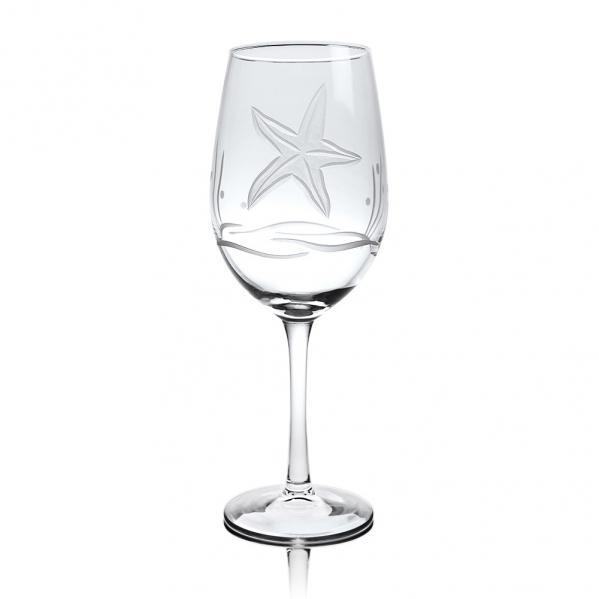 Rolf Glass Starfish White Wine Glasses 12 oz. (Set of 4)
