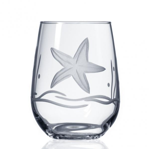 Starfish Etched Wine Glass Tumbler by Roth Glass 17 oz.