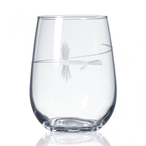 School of Fish Stemless Wine Glass by Rolf Glass made in USA