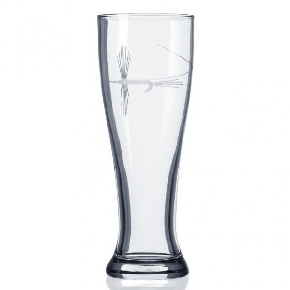 Fly Fishing Etched Beer Pilsners Glass by Roth Glass 16 oz. Angler's Beer Glass