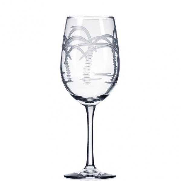 Rolf Glass Palm Tree White Wine Glasses 12 oz. (Set of 4)