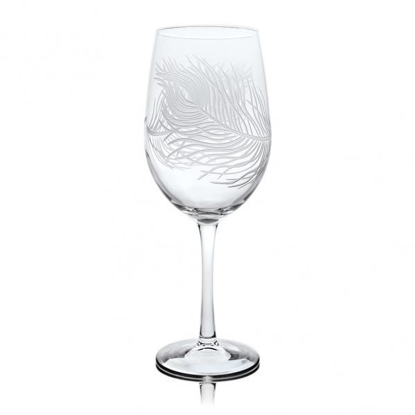 Rolf Glass Peacock White Wine Glasses 12 oz. Set of 4