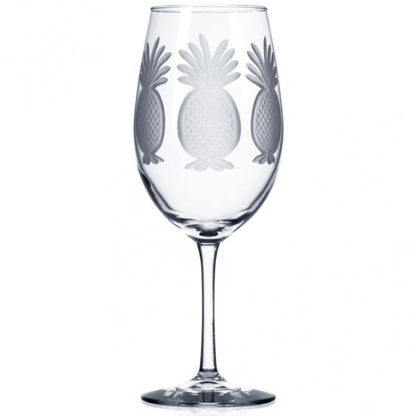Rolf Glass Pineapple Etched Red Wine Glasses 18 oz. (Set of 4)