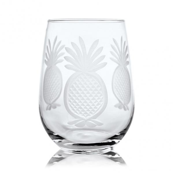 Rolf Glass Pineapple Stemless Wine Glass Tumblers 17 oz. (Set of 4)