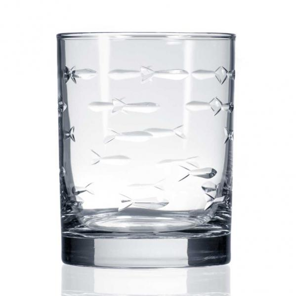 School of Fish Double Old Fashioned Whiskey Glasses 14 oz. by Rolf Glass  (Set of 4)