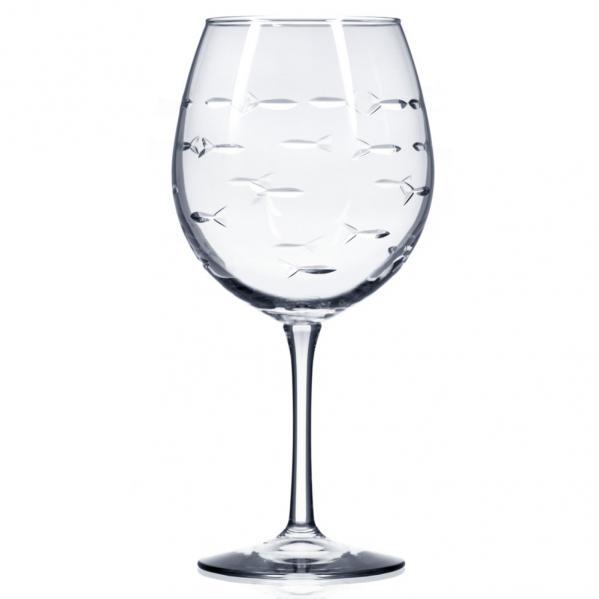 Rolf Glass School of Fish Balloon Wine Glasses 18 oz. (Set of 4)