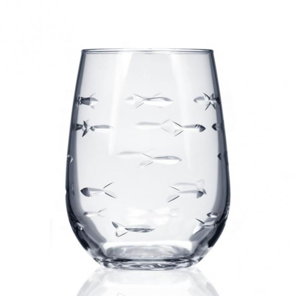 Rolf Glass School of Fish Stemless Wine Glass Tumblers 17 oz. (Set of 4)
