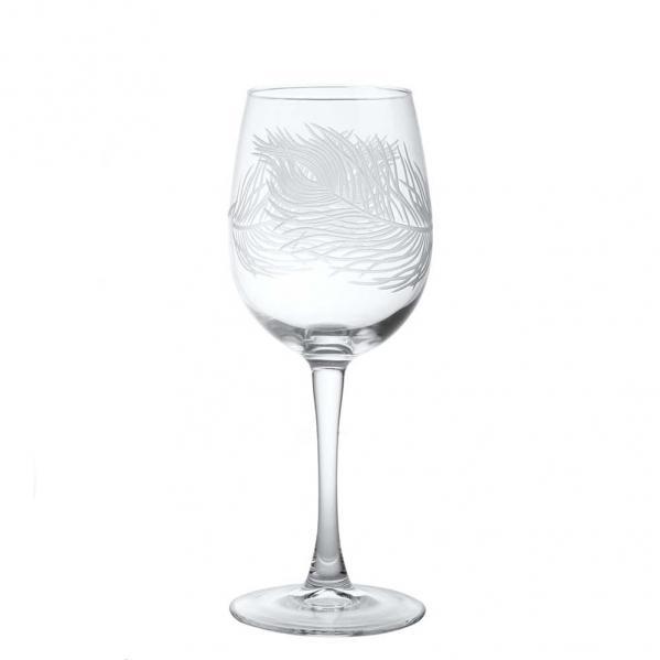 Rolf Glass Peacock Tulip White Wine Glasses 12 oz. (Set of 4)