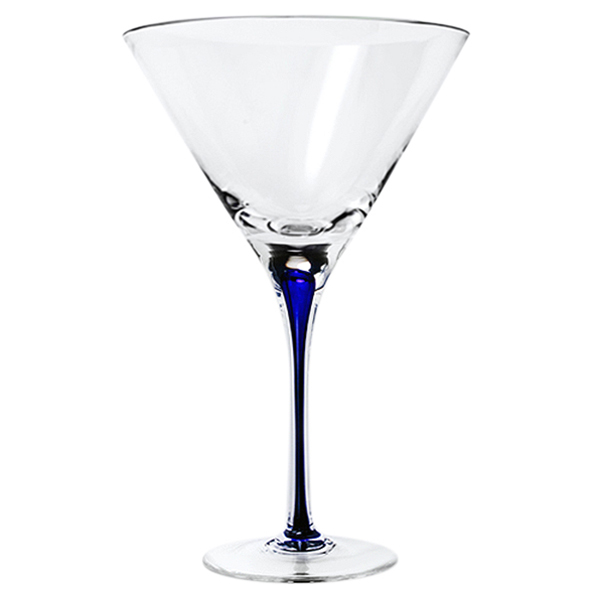 Blue Stem Crystal Martini Glasses 12 oz (Set of 2)