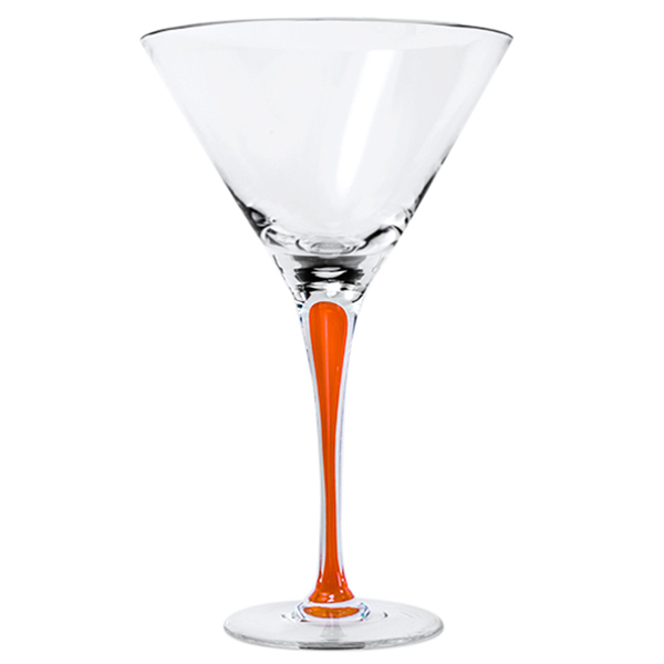 Orange Stem Crystal Martini Glasses 12 oz. (Set of 2)