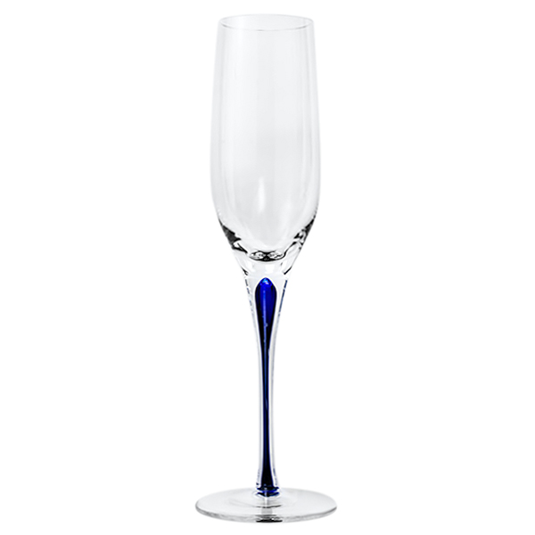 Blue Stem Crystal Champagne Flutes 10 oz (Set of 2)