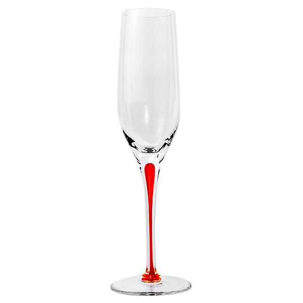 Orange Stem Crystal Champagne Flutes 7 oz (Set of 2)