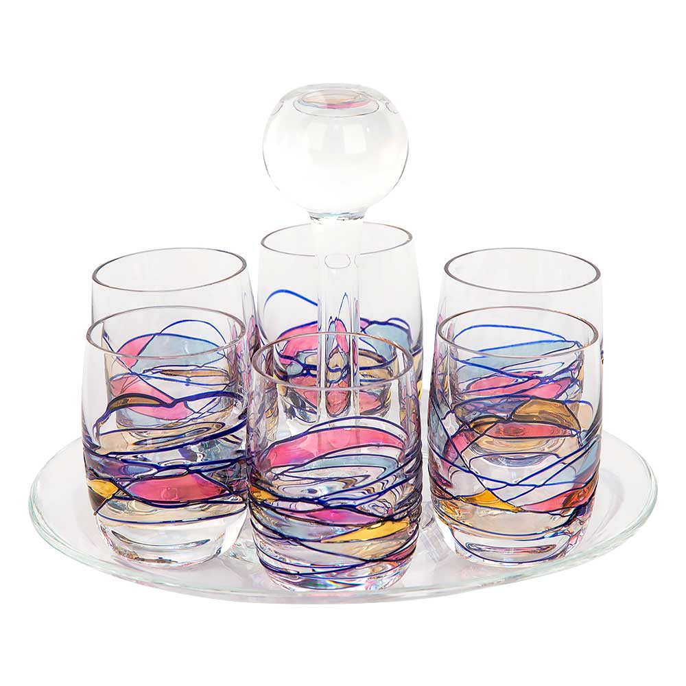 Milano Crystal Shot Glasses with Plate - Set of 6