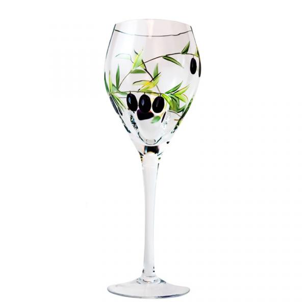 Crystal Red Wine Glasses with Olives Branch from Romania 18 oz. (Set of 4)