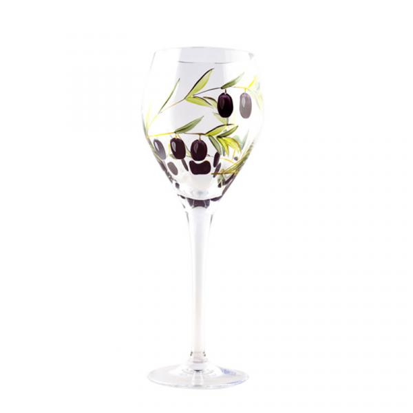 Olivia - Romanian Crystal White Wine Glasses with painted Olives 14 oz. (Set of 4)