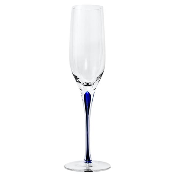 Blue Stem Crystal Champagne Flutes 10 oz (Set of 2)