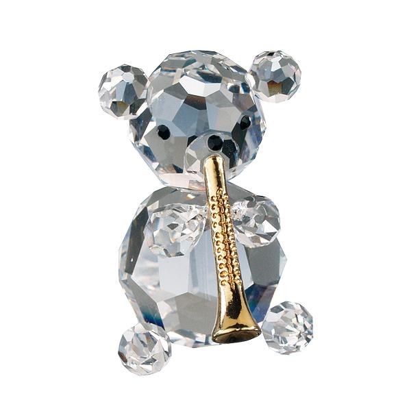 Preciosa Crystal Bear with Trumpet Figurine