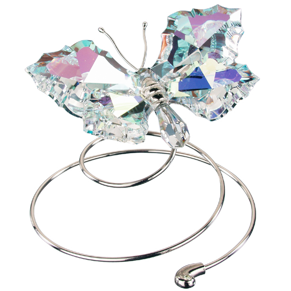 Preciosa Crystal Aurora Borealis Flying Butterfly Figurine