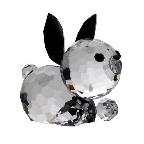 Preciosa Crystal Bunny Figurine - Jet Black/Crystal