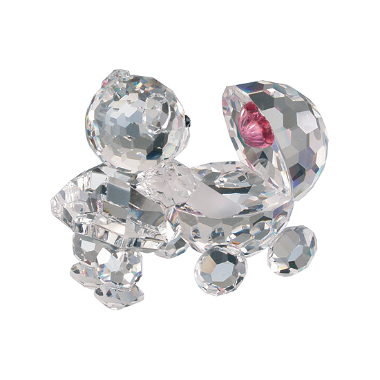 Preciosa Crystal Baby Bear and Stroller with Pink Heart