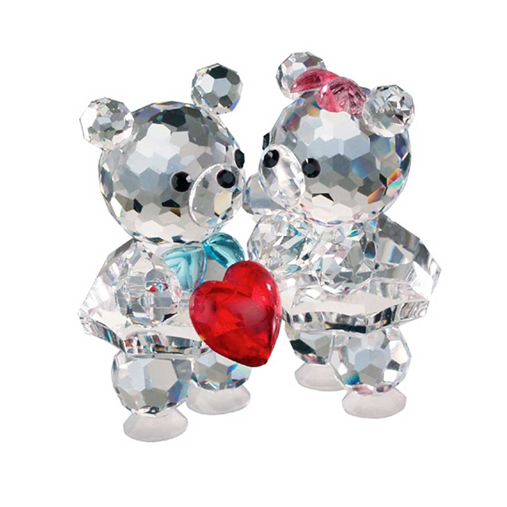 Preciosa Crystal Bear Couple with Red Heart Figurine