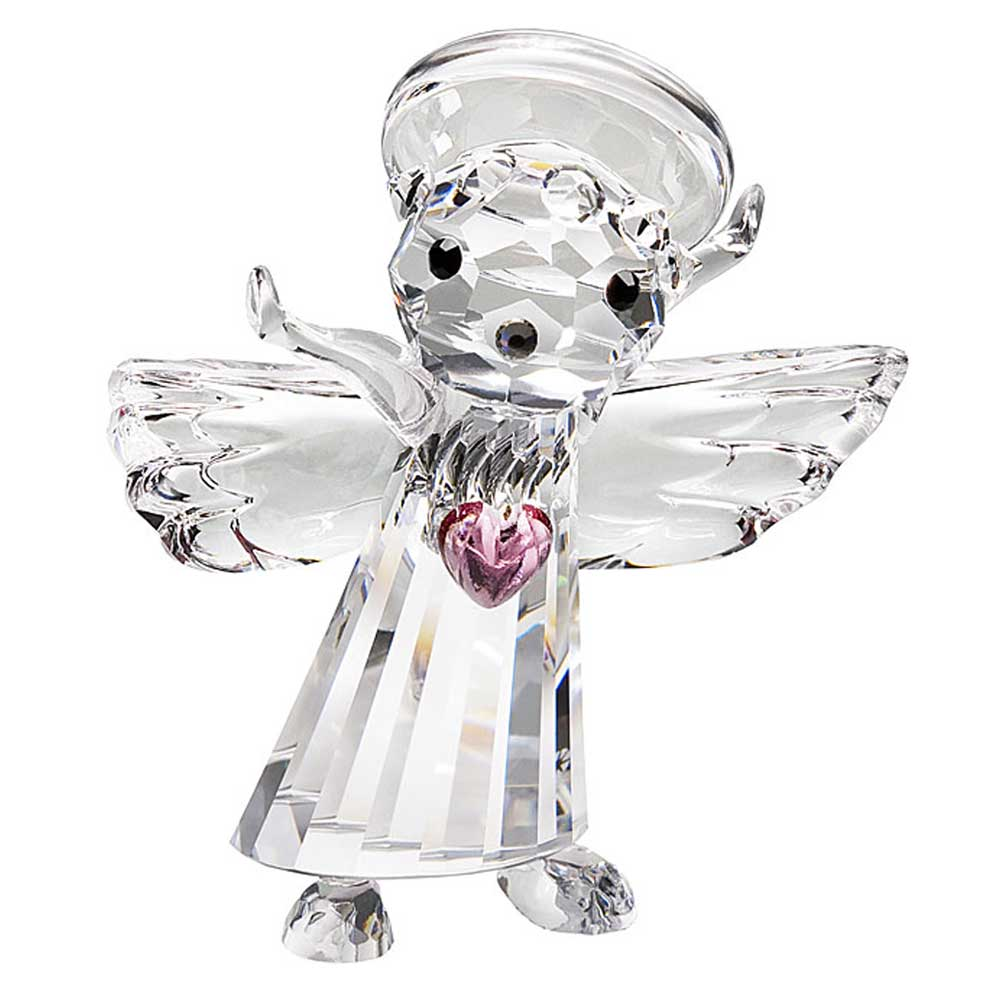 Preciosa Crystal Angel with Pink Heart Figurine