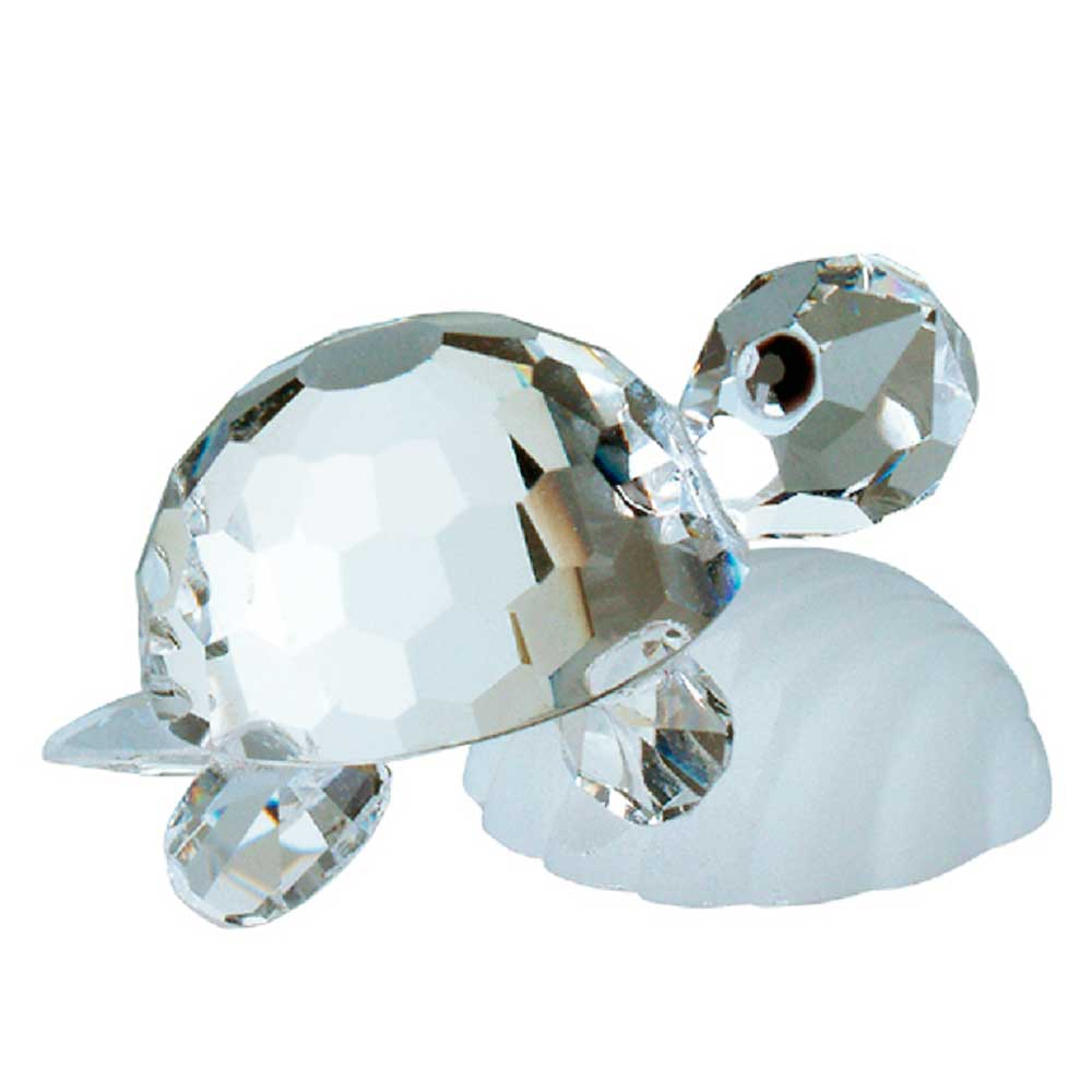 Preciosa Miniature Crystal Turtle on Shell Figurine