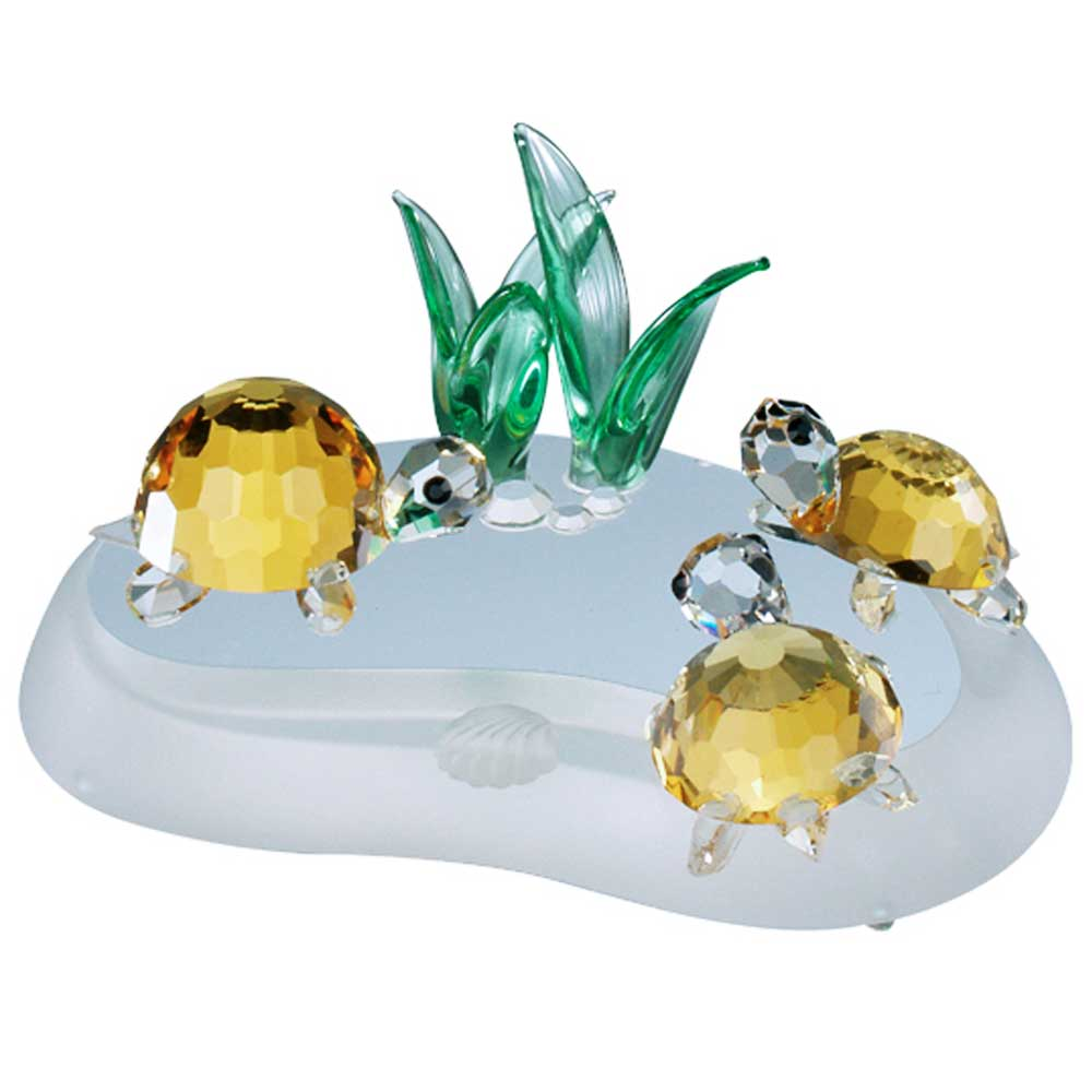 Preciosa Crystal Turtle Family Figurine