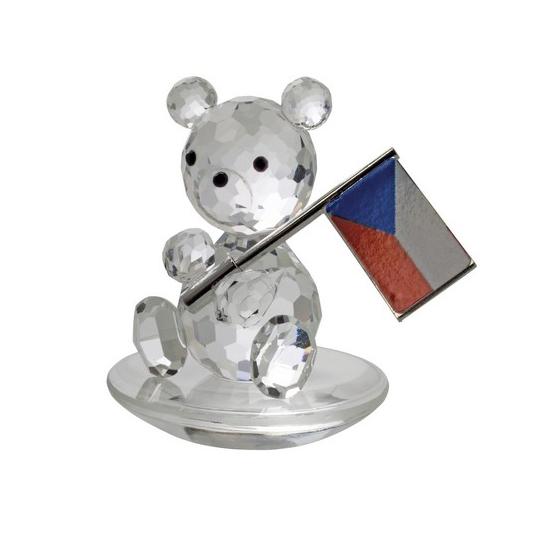 Preciosa Crystal Bear Figurine holding Flag