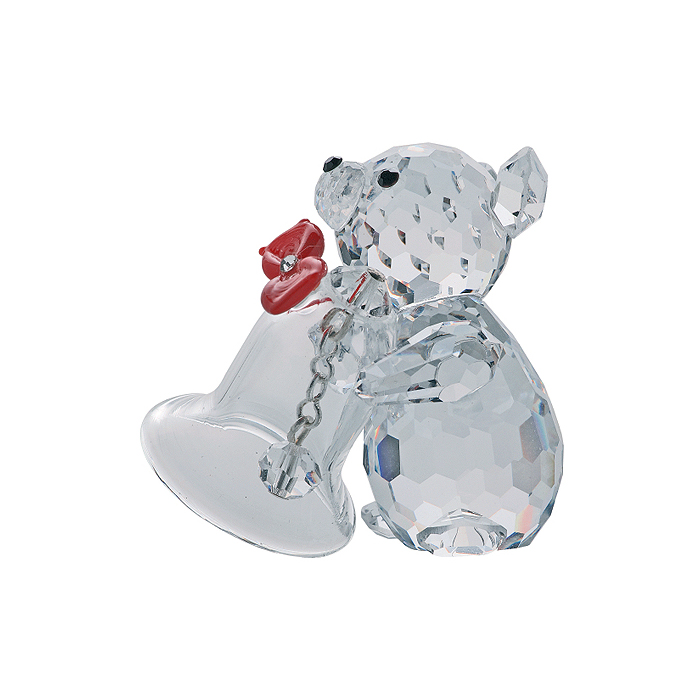 Preciosa Crystal Teddy Bear Figurine with Christmas Bell