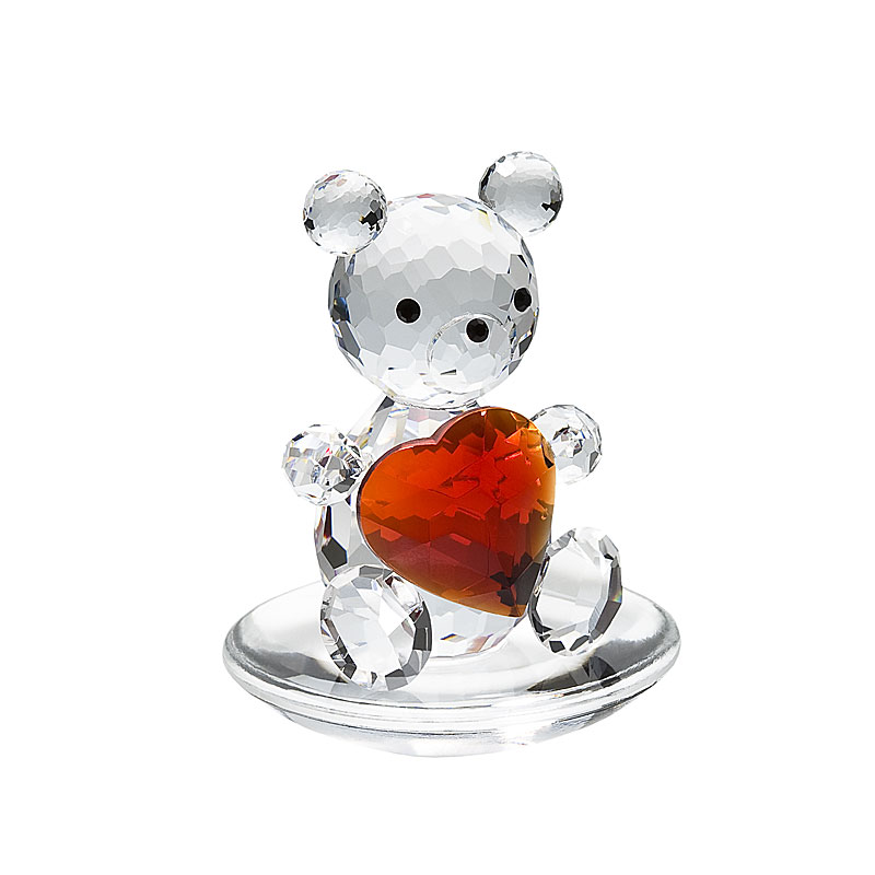 Preciosa Crystal Bear with Big Red Heart Figurine
