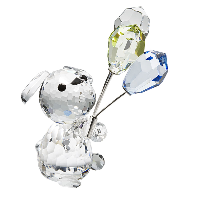 Preciosa Crystal Dog with Balloons Figurine