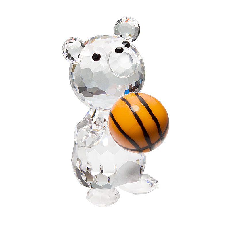 Preciosa Crystal Teddy Bear Basketball Player Figurine