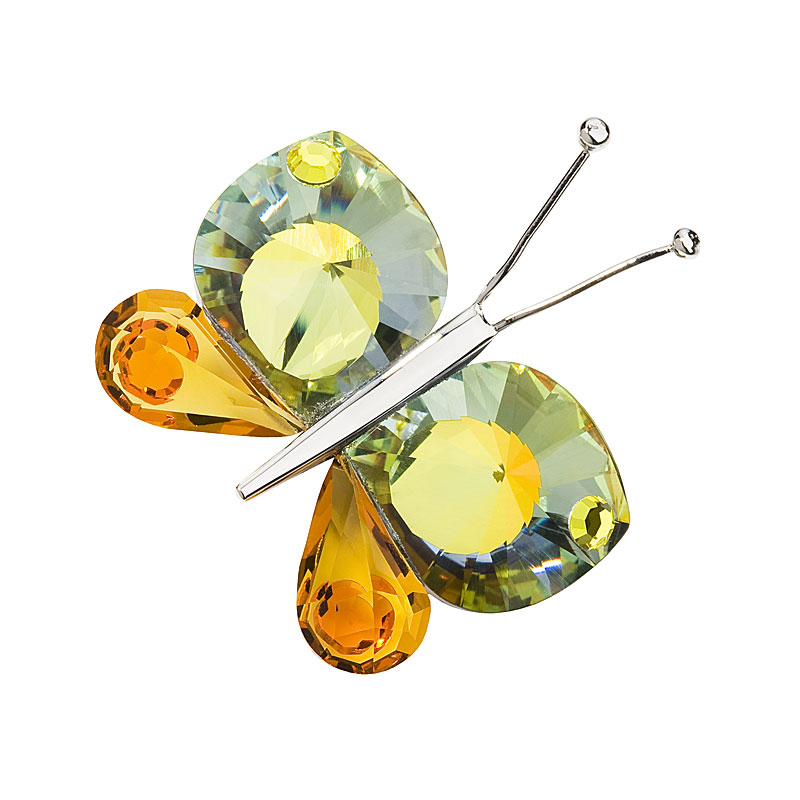 Preciosa Crystal Yellow Orange Butterfly with Magnet